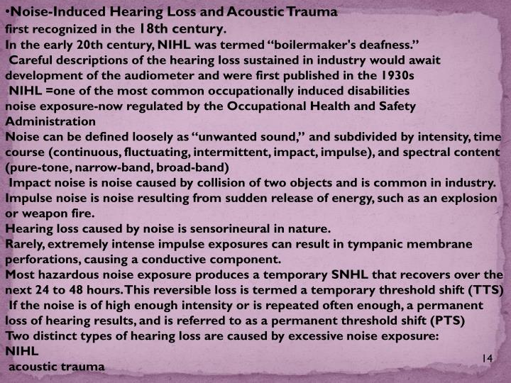 Noise-Induced Hearing Loss and Acoustic Trauma