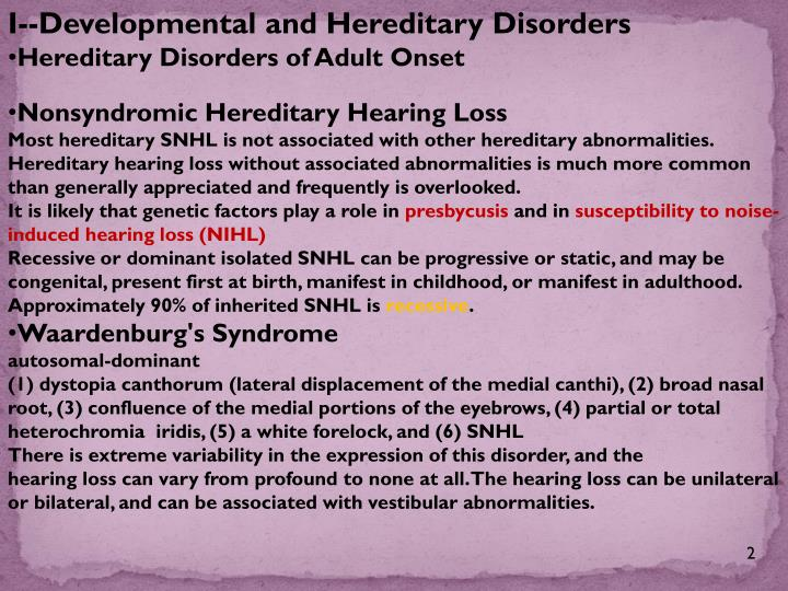 I--Developmental and Hereditary Disorders