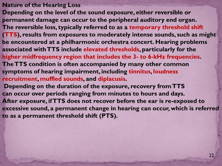 Nature of the Hearing Loss