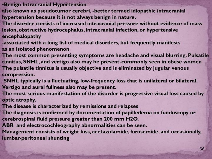 Benign Intracranial Hypertension