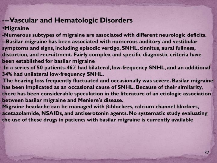 ---Vascular and Hematologic Disorders