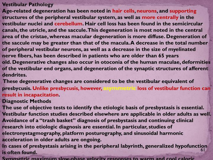 Vestibular Pathology