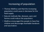 increasing of population