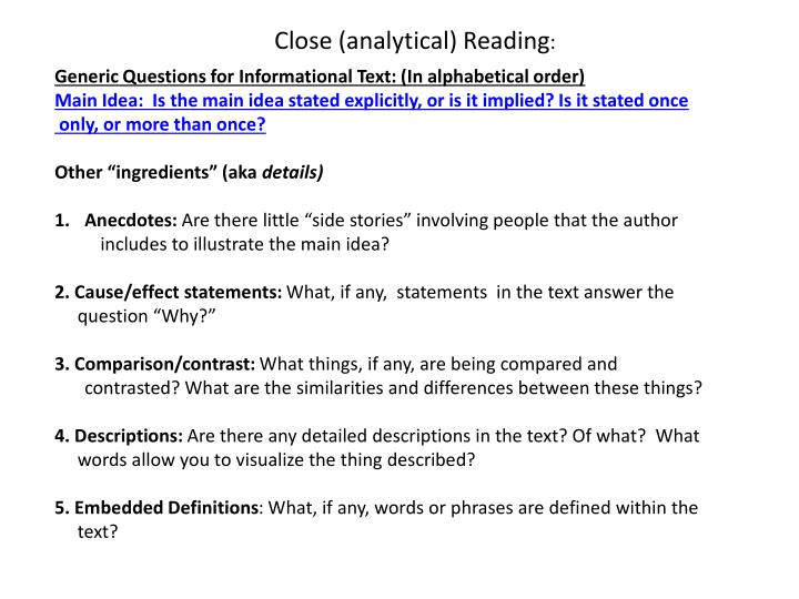 Close (analytical) Reading