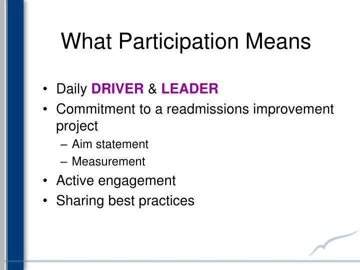 What participation means