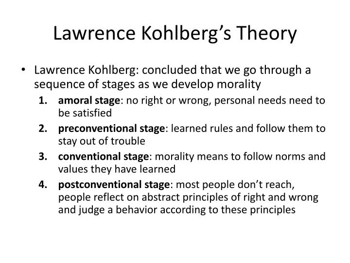 kolbergs theory Kohlbergs theory essay kohlberg's theory covers the moral development stages of an individual and i think this theory is a huge help for a person.
