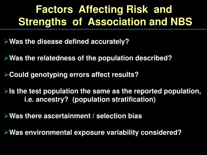 Factors  Affecting Risk  and
