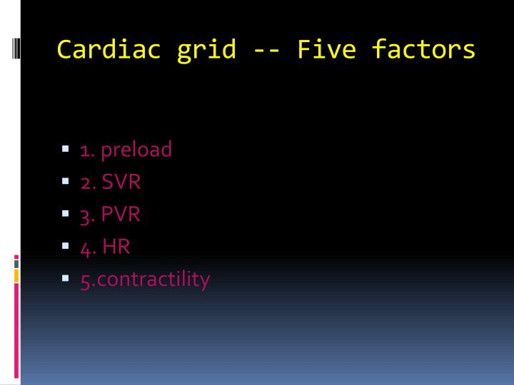 Cardiac grid -- Five factors