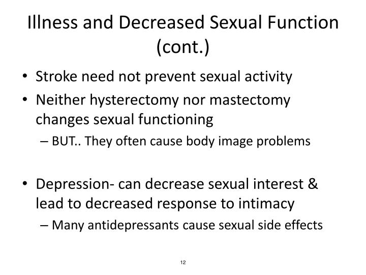 Illness and Decreased Sexual Function (cont.)