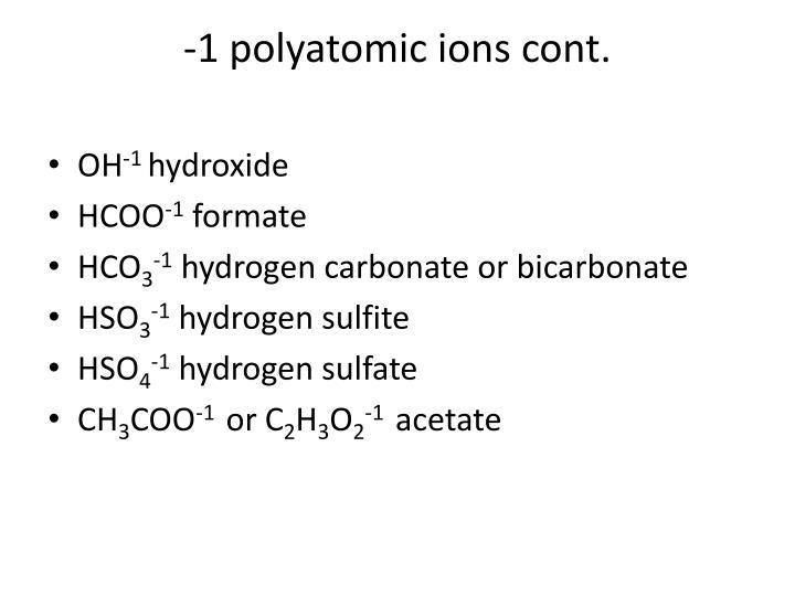 -1 polyatomic ions cont.
