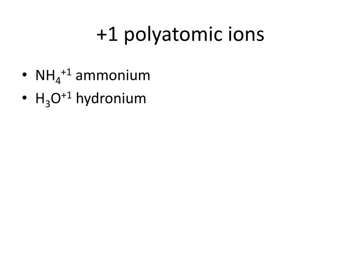 +1 polyatomic ions