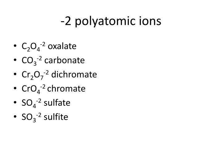 -2 polyatomic ions