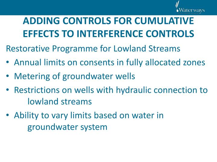 ADDING CONTROLS FOR CUMULATIVE EFFECTS TO INTERFERENCE CONTROLS