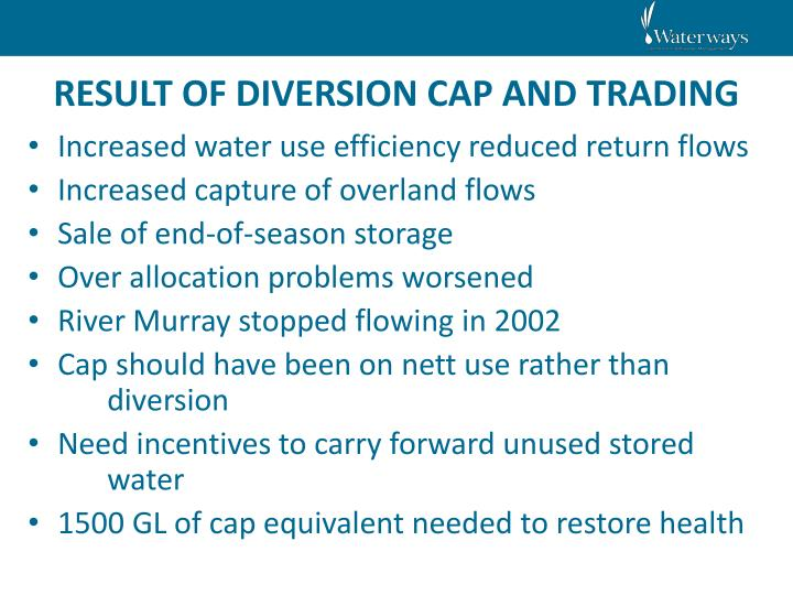 RESULT OF DIVERSION CAP AND TRADING