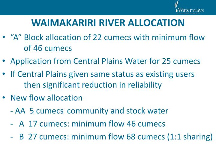 WAIMAKARIRI RIVER ALLOCATION