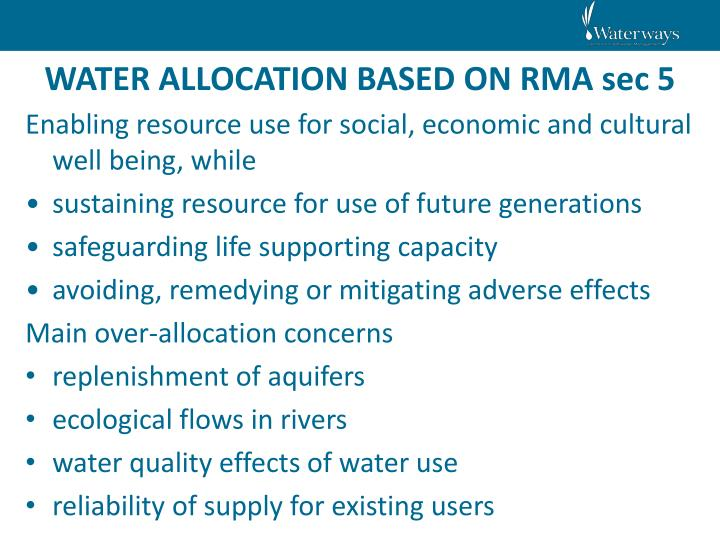 WATER ALLOCATION BASED ON RMA sec 5