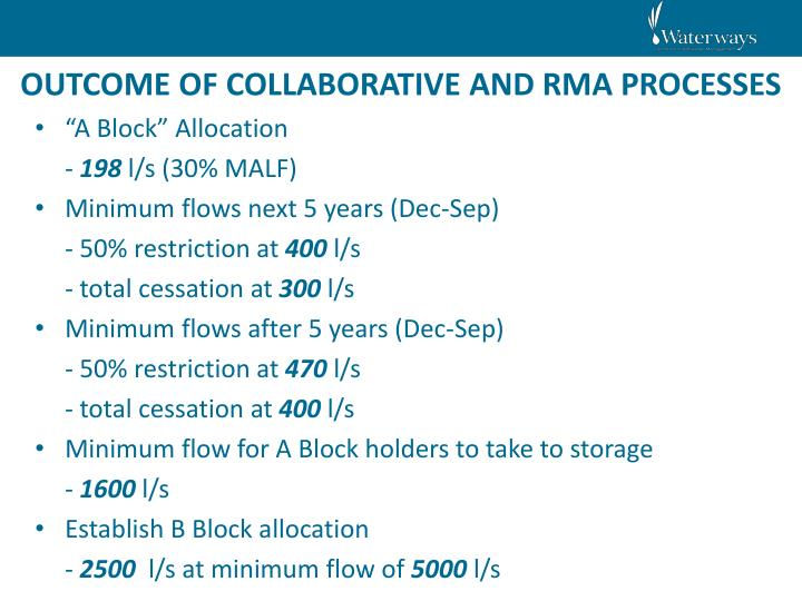 OUTCOME OF COLLABORATIVE AND RMA PROCESSES