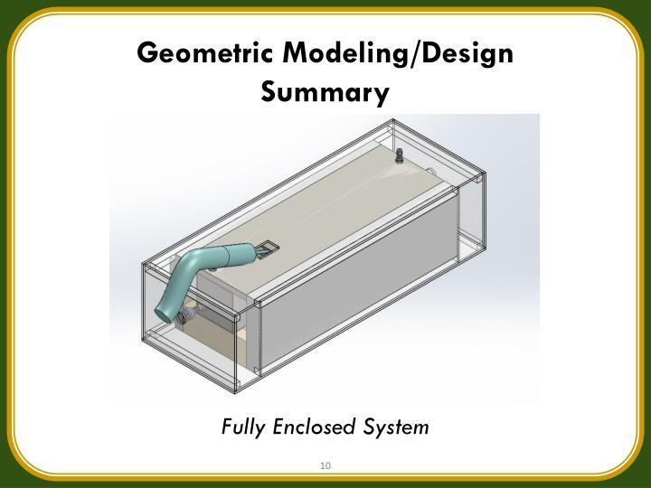 Geometric Modeling/Design Summary