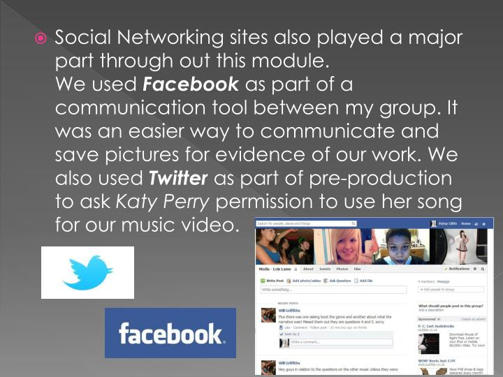 Social Networking sites also played a major part through out this module.