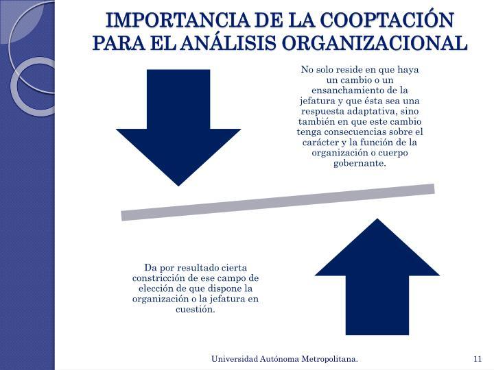 IMPORTANCIA DE LA COOPTACIÓN  PARA EL ANÁLISIS ORGANIZACIONAL