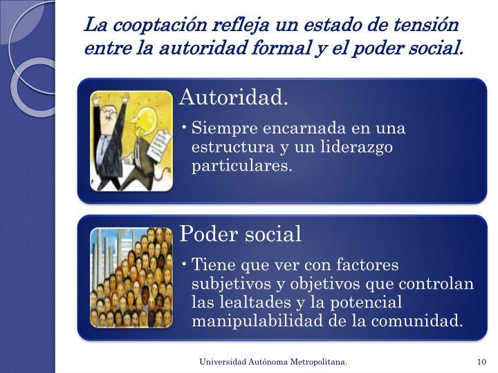 La cooptación refleja un estado de tensión entre la autoridad formal y el poder social.