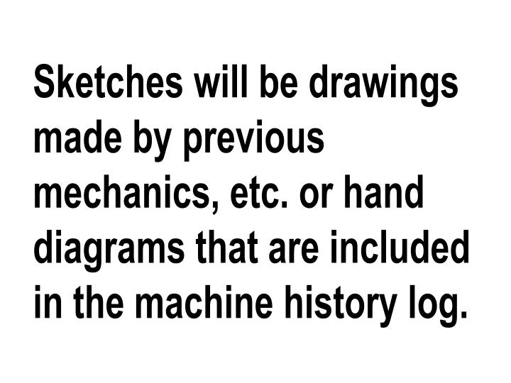 Sketches will be drawings made by previous mechanics, etc. or hand diagrams that are included in the machine history log.