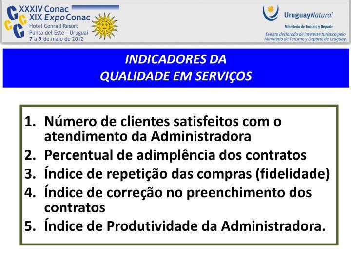 Número de clientes satisfeitos com o atendimento da Administradora