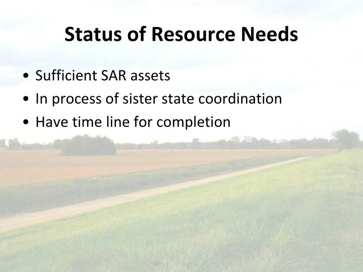 Status of Resource Needs