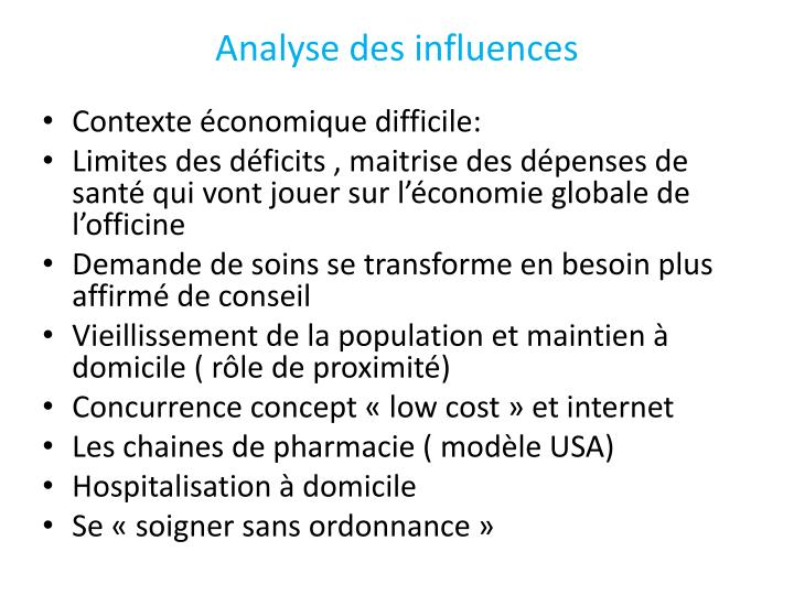 Analyse des influences