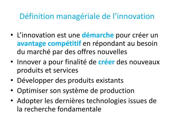 Définition managériale de l'innovation