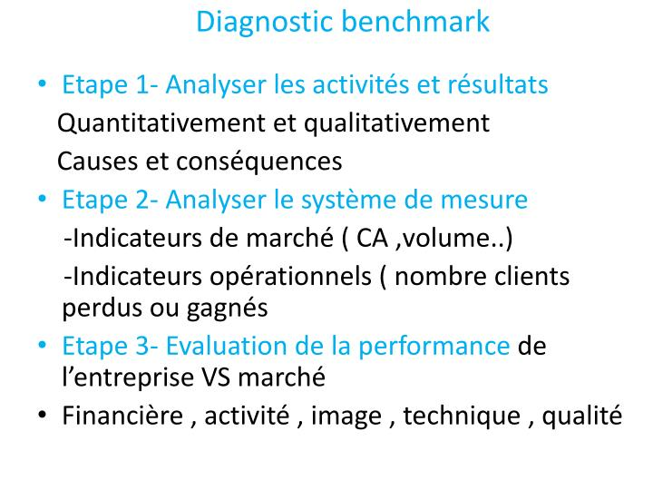 Diagnostic benchmark