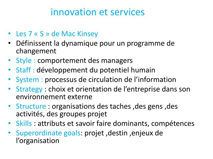 innovation et services