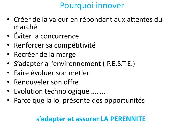 Pourquoi innover