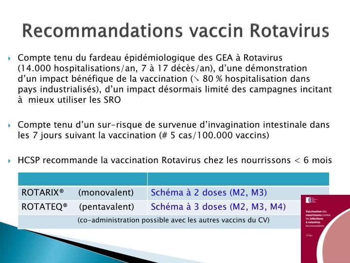 Recommandations vaccin