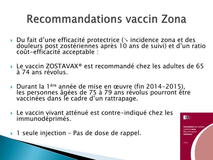 Recommandations vaccin Zona