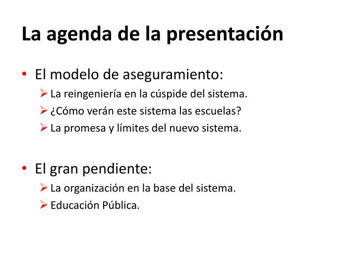 La agenda de la presentación