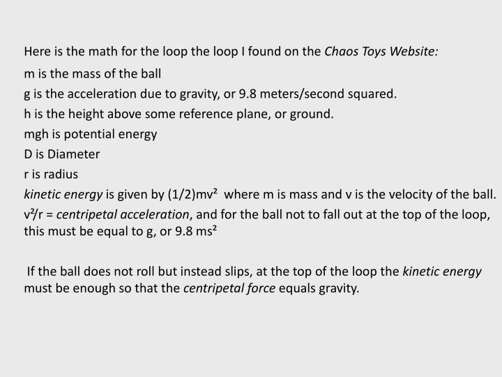 Here is the math for the loop the loop I found on the