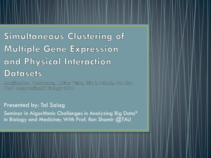 Simultaneous Clustering of Multiple Gene Expression