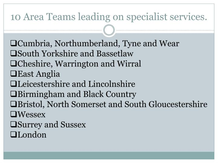 10 Area Teams leading on specialist services.
