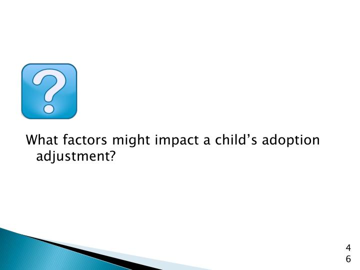 What factors might impact a child's adoption adjustment?