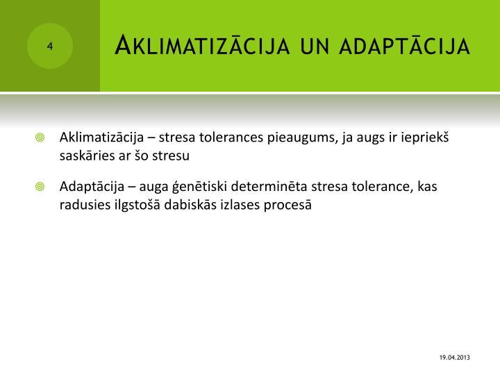 Aklimatizācija un adaptācija