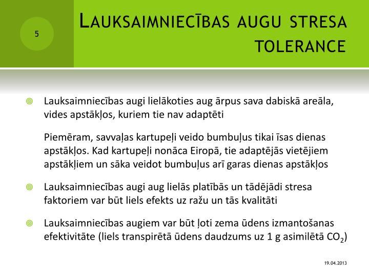 Lauksaimniecības augu stresa tolerance