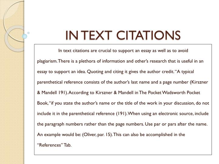 give author credit essay Documentation 2, also called the author-date style, requires the use of parenthetical references in the text of the essay as well as a list of references parenthetical references should be placed at the end of the sentence, before the period, when a resource has been used.
