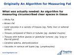 originally an algorithm for measuring fat