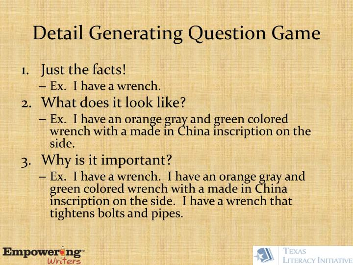 Detail Generating Question Game