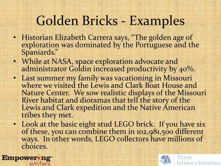 Golden Bricks - Examples