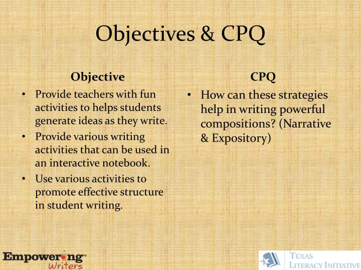 Objectives cpq