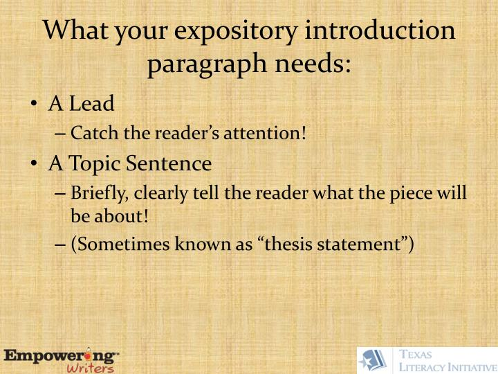 What your expository introduction paragraph needs: