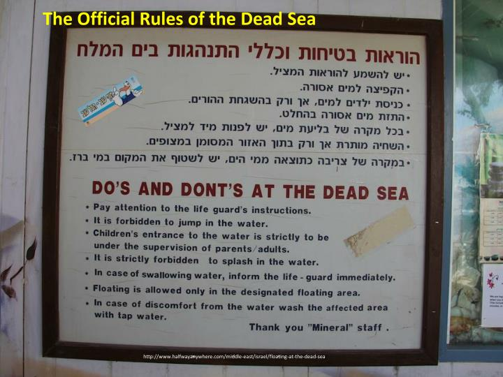The Official Rules of the Dead Sea
