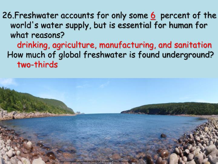 Freshwater accounts for only some